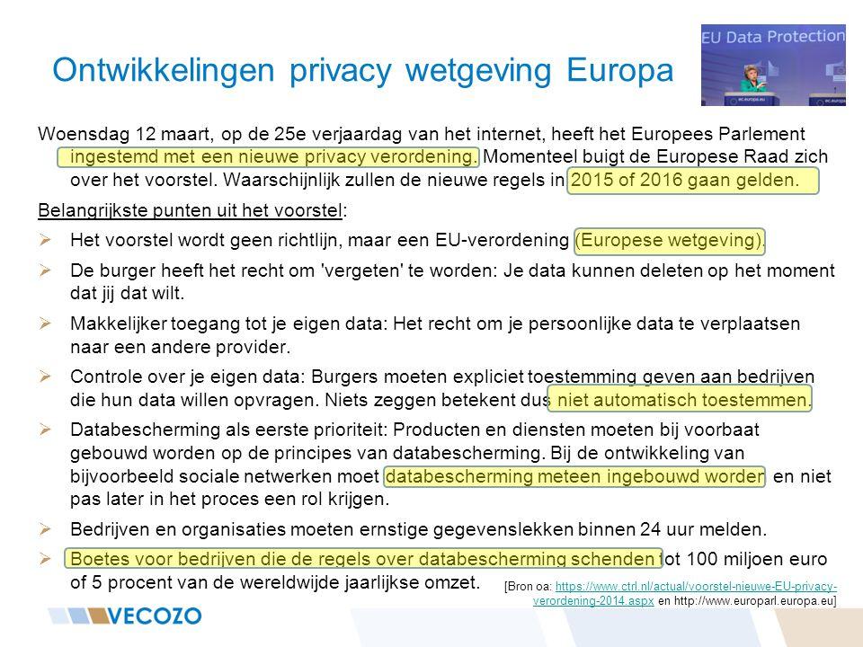 Ontwikkelingen privacy wetgeving Europa Woensdag 12 maart, op de 25e verjaardag van het internet, heeft het Europees Parlement ingestemd met een nieuw