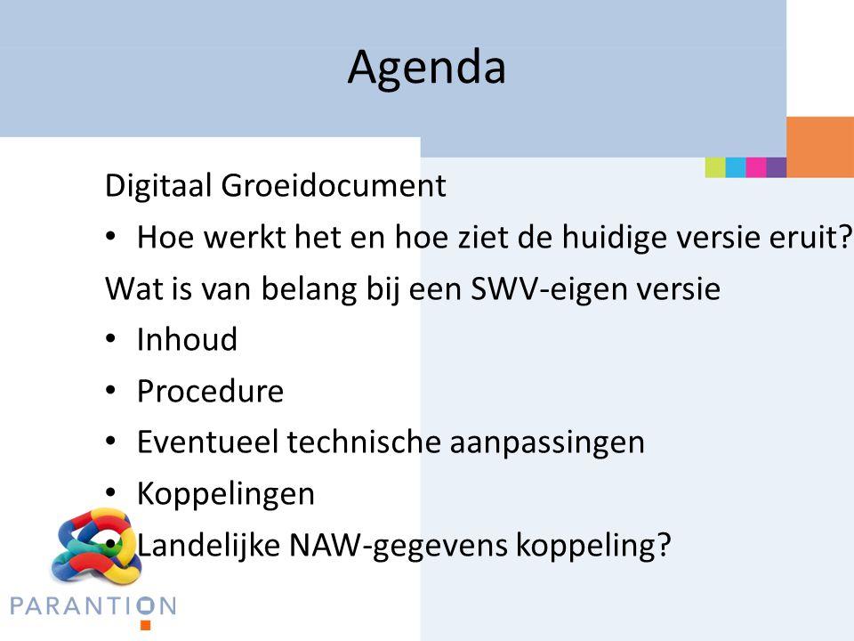 Agenda Digitaal Groeidocument Hoe werkt het en hoe ziet de huidige versie eruit? Wat is van belang bij een SWV-eigen versie Inhoud Procedure Eventueel