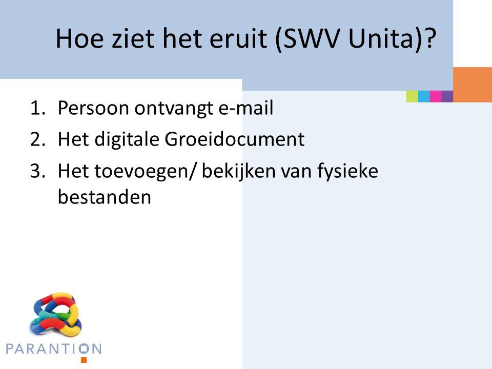 Hoe ziet het eruit (SWV Unita)? 1.Persoon ontvangt e-mail 2.Het digitale Groeidocument 3.Het toevoegen/ bekijken van fysieke bestanden