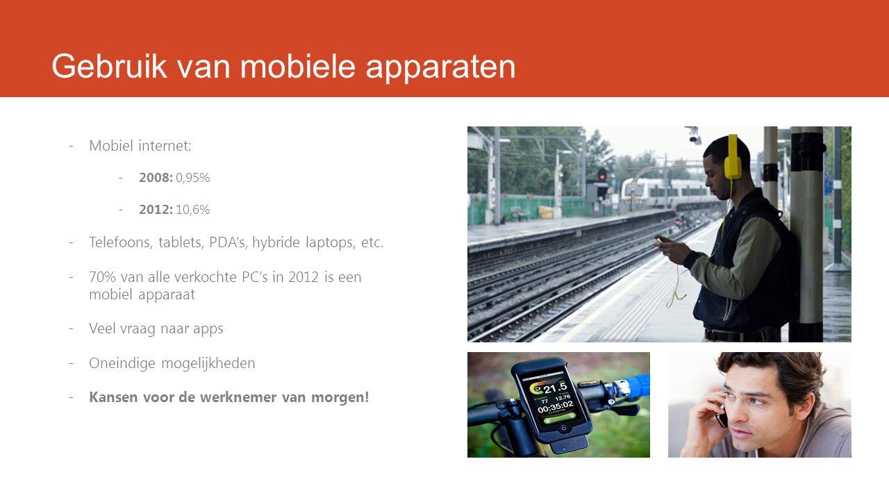 Gebruik van mobiele apparaten -Mobiel internet: -2008: 0,95% -2012: 10,6% -Telefoons, tablets, PDA's, hybride laptops, etc.