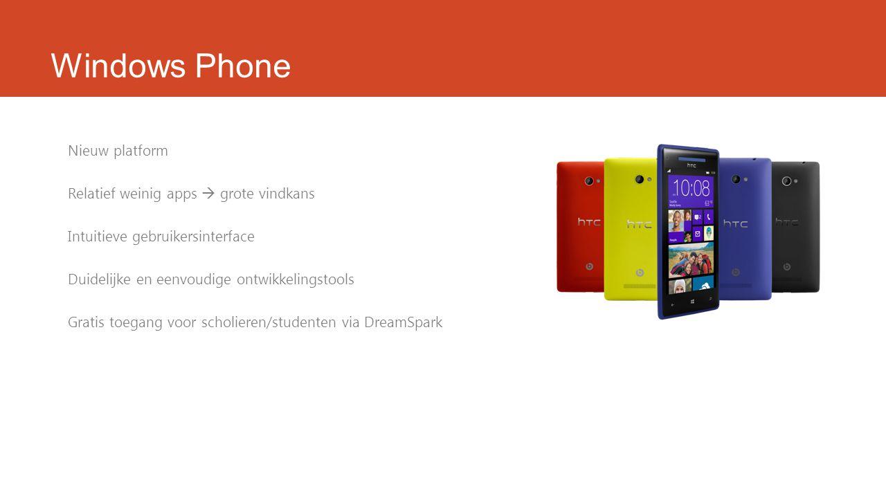 Windows Phone Nieuw platform Relatief weinig apps  grote vindkans Intuitieve gebruikersinterface Duidelijke en eenvoudige ontwikkelingstools Gratis toegang voor scholieren/studenten via DreamSpark