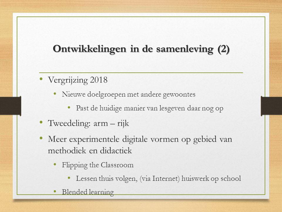 Ontwikkelingen in de samenleving (2) Vergrijzing 2018 Nieuwe doelgroepen met andere gewoontes Past de huidige manier van lesgeven daar nog op Tweedeli