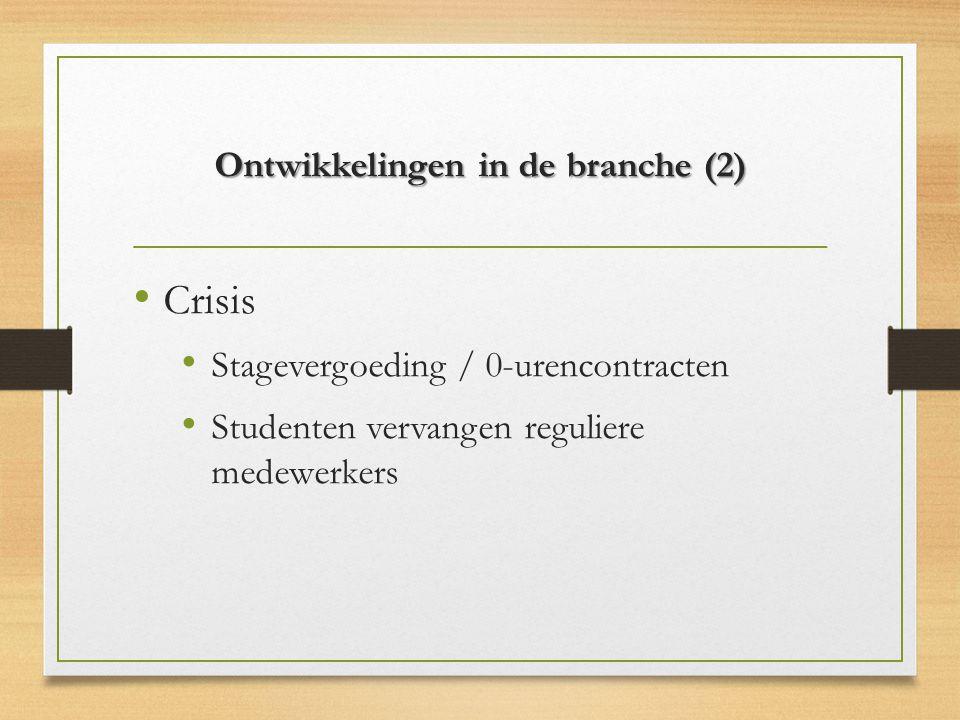 Ontwikkelingen in de branche (2) Crisis Stagevergoeding / 0-urencontracten Studenten vervangen reguliere medewerkers