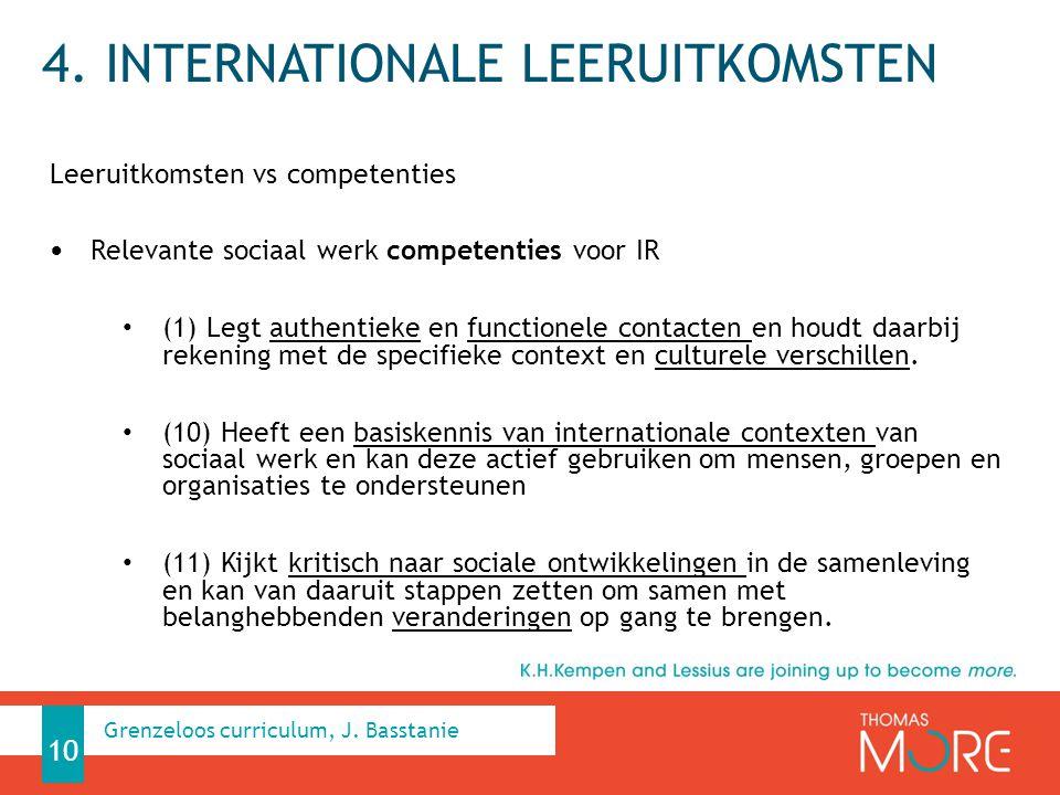 4. INTERNATIONALE LEERUITKOMSTEN Leeruitkomsten vs competenties Relevante sociaal werk competenties voor IR (1) Legt authentieke en functionele contac