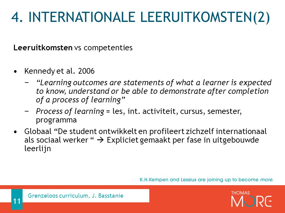 """4. INTERNATIONALE LEERUITKOMSTEN(2) Leeruitkomsten vs competenties Kennedy et al. 2006 − """"Learning outcomes are statements of what a learner is expect"""