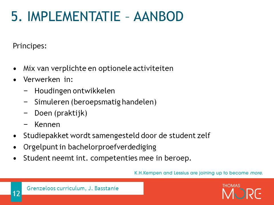 5. IMPLEMENTATIE – AANBOD Principes: Mix van verplichte en optionele activiteiten Verwerken in: − Houdingen ontwikkelen − Simuleren (beroepsmatig hand