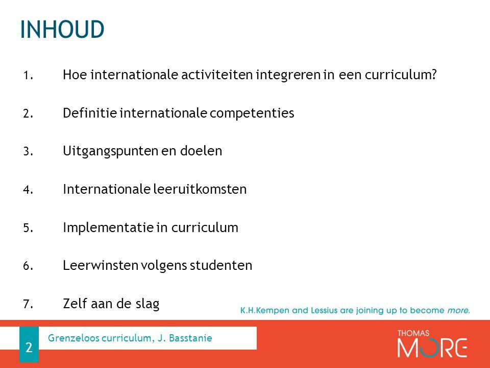 INHOUD 1. Hoe internationale activiteiten integreren in een curriculum? 2. Definitie internationale competenties 3. Uitgangspunten en doelen 4. Intern