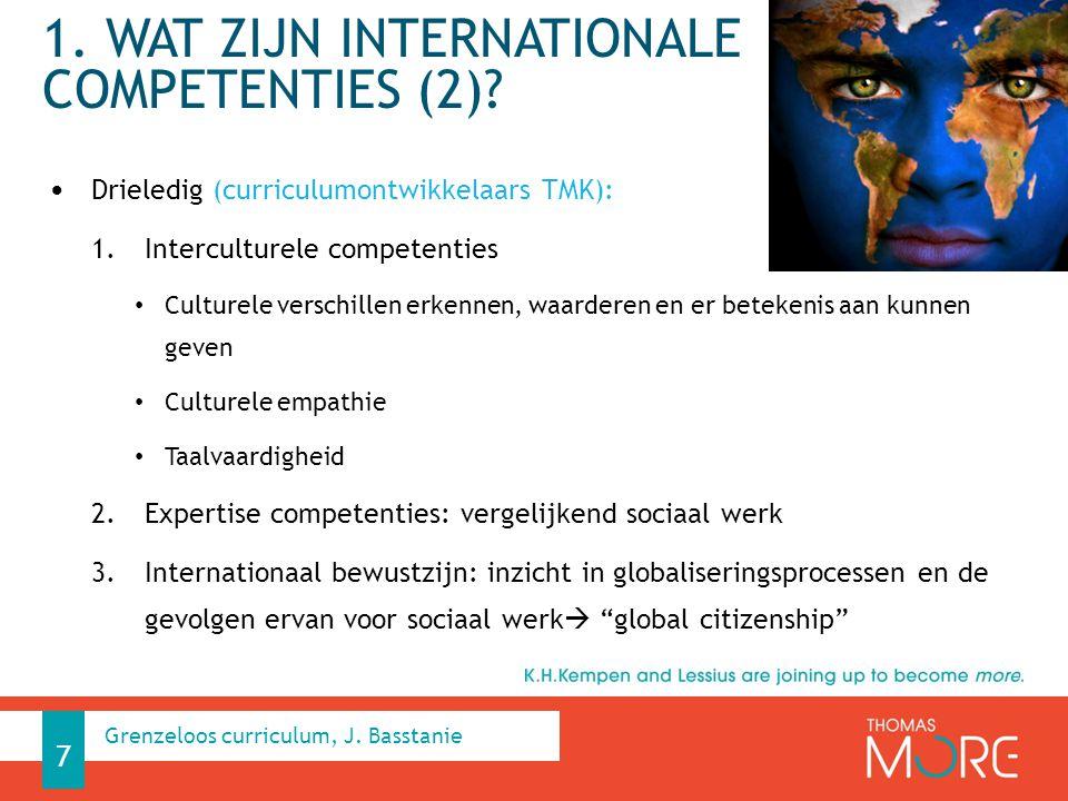 1. WAT ZIJN INTERNATIONALE COMPETENTIES (2)? Drieledig (curriculumontwikkelaars TMK): 1.Interculturele competenties Culturele verschillen erkennen, wa