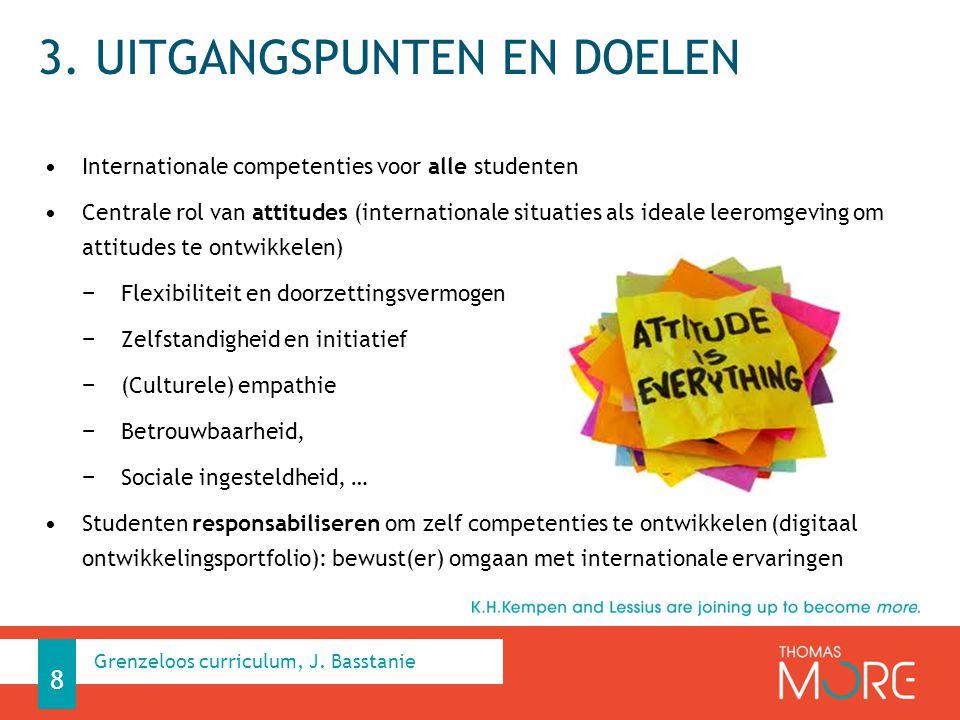 3. UITGANGSPUNTEN EN DOELEN Internationale competenties voor alle studenten Centrale rol van attitudes (internationale situaties als ideale leeromgevi