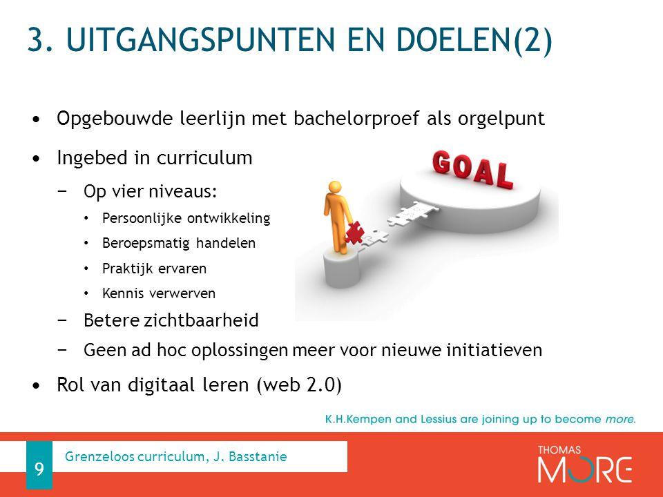 3. UITGANGSPUNTEN EN DOELEN(2) Opgebouwde leerlijn met bachelorproef als orgelpunt Ingebed in curriculum − Op vier niveaus: Persoonlijke ontwikkeling