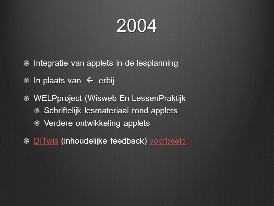2005 Aandacht voor bewaren digitaal werk Opmars ELO Aandacht voor het zelf kunnen aanpassen van applets.