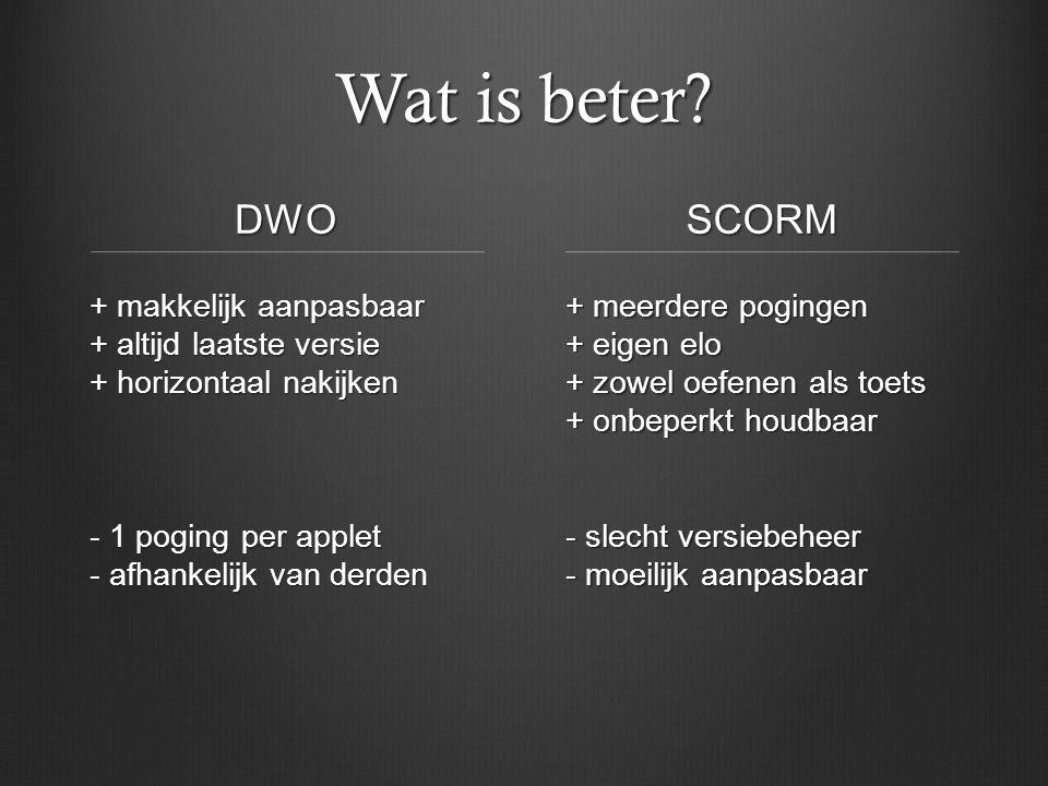 Wat is beter.