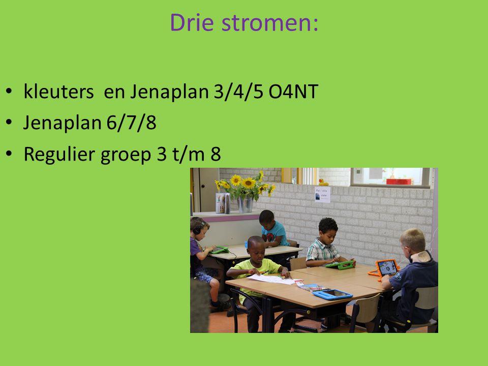 Drie stromen: kleuters en Jenaplan 3/4/5 O4NT Jenaplan 6/7/8 Regulier groep 3 t/m 8