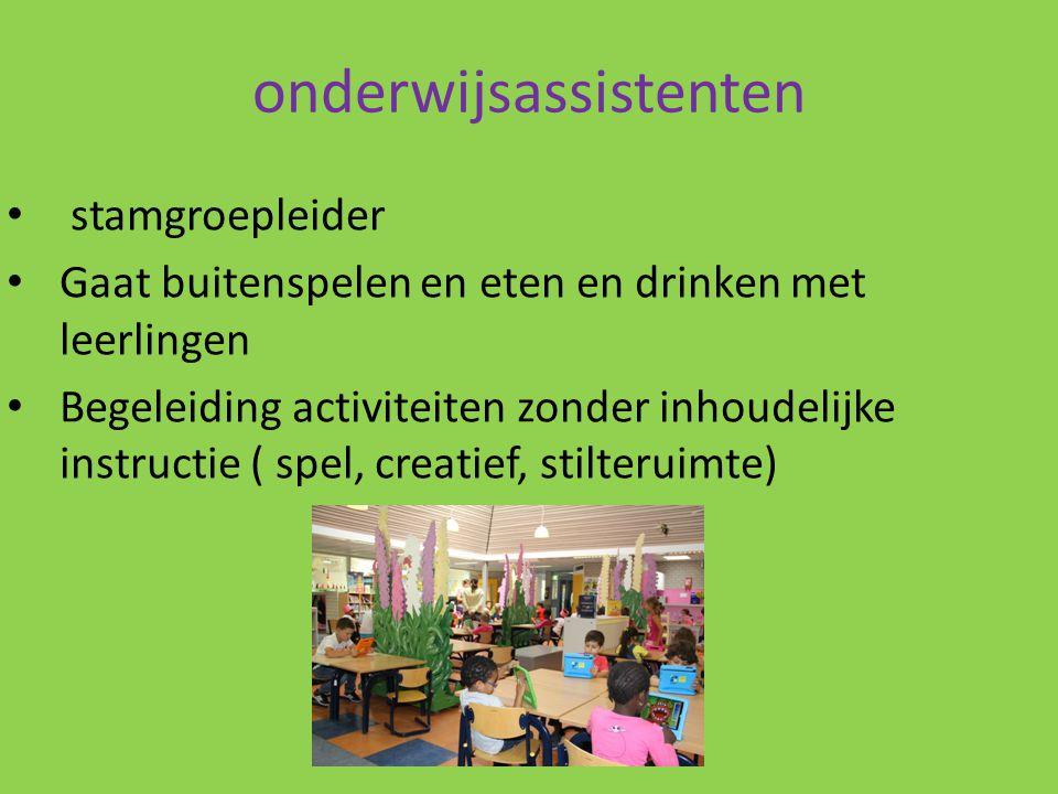 onderwijsassistenten stamgroepleider Gaat buitenspelen en eten en drinken met leerlingen Begeleiding activiteiten zonder inhoudelijke instructie ( spe