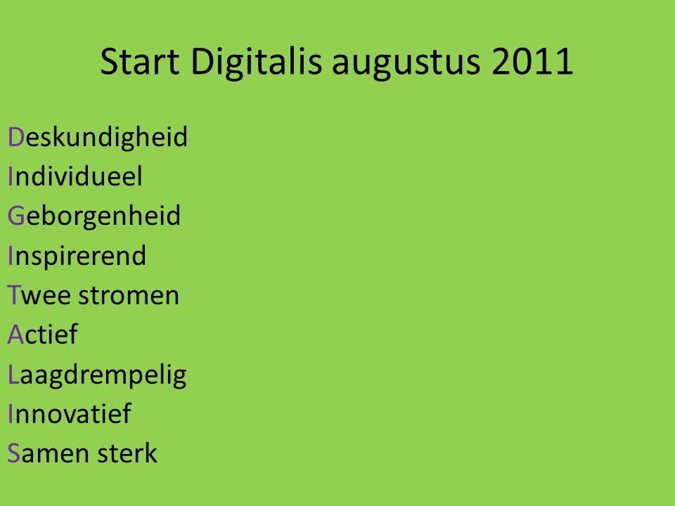 Start Digitalis augustus 2011 Deskundigheid Individueel Geborgenheid Inspirerend Twee stromen Actief Laagdrempelig Innovatief Samen sterk