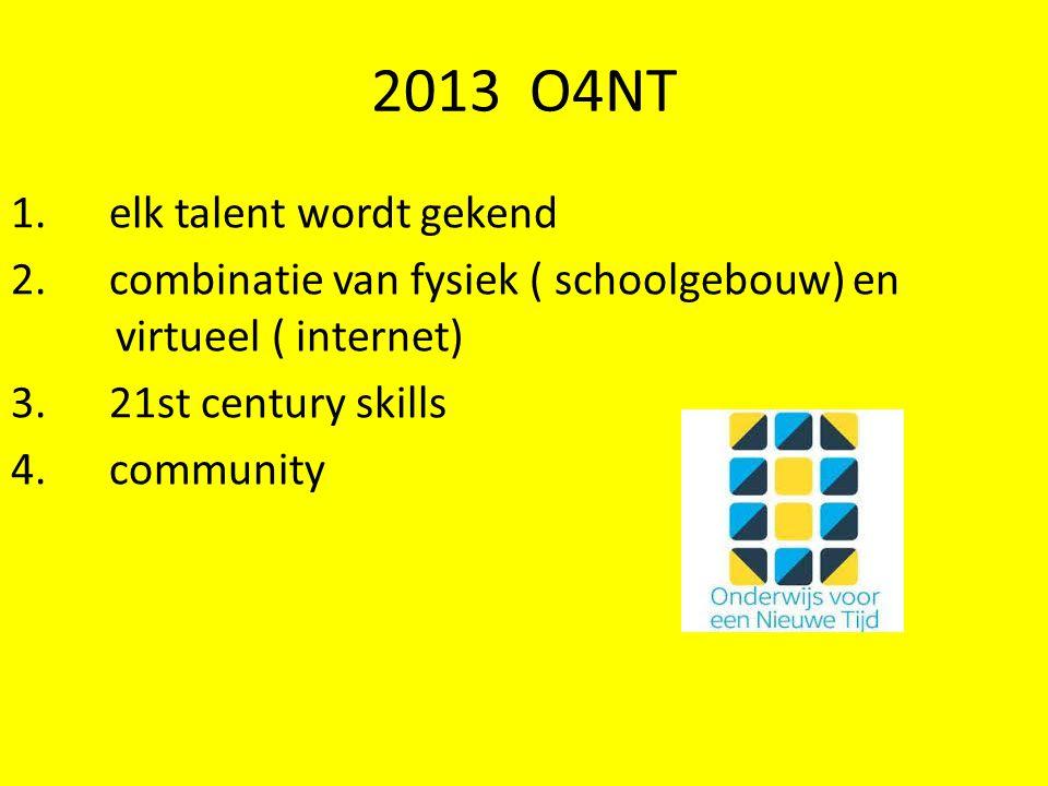 2013 O4NT 1. elk talent wordt gekend 2. combinatie van fysiek ( schoolgebouw) en virtueel ( internet) 3. 21st century skills 4. community