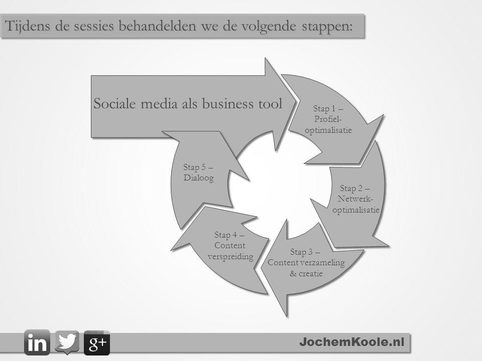 Sociale media als business tool Stap 1 – Profiel- optimalisatie Stap 2 – Netwerk- optimalisatie Stap 3 – Content verzameling & creatie Stap 4 – Content verspreiding Stap 5 – Dialoog JochemKoole.nl Tijdens de sessies behandelden we de volgende stappen: