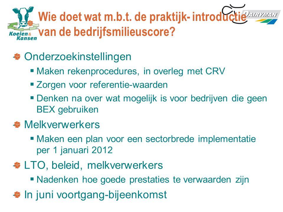 Wie doet wat m.b.t. de praktijk- introductie van de bedrijfsmilieuscore? Onderzoekinstellingen  Maken rekenprocedures, in overleg met CRV  Zorgen vo