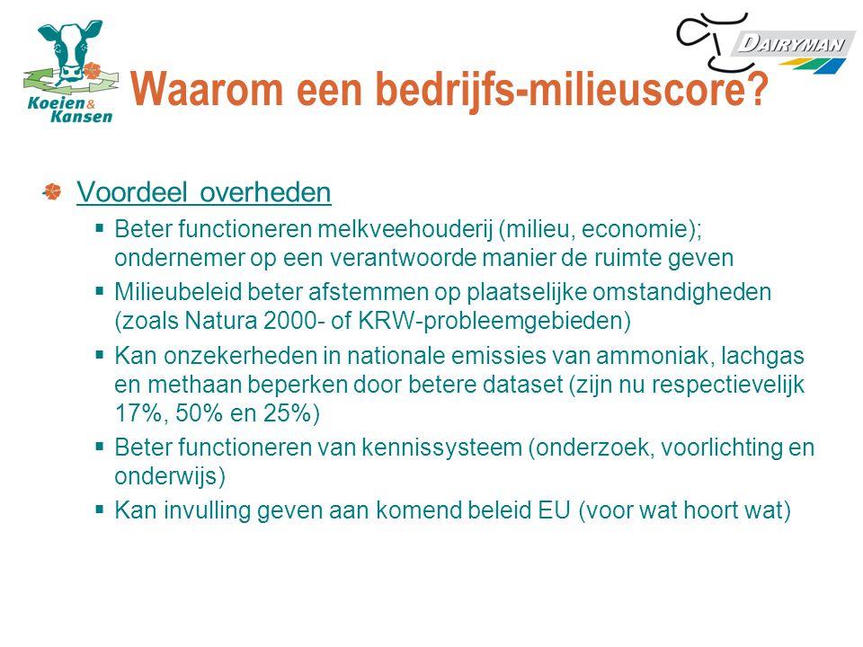 Waarom een bedrijfs-milieuscore? Voordeel overheden  Beter functioneren melkveehouderij (milieu, economie); ondernemer op een verantwoorde manier de
