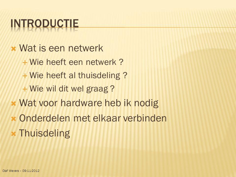  Wat is een netwerk  Wie heeft een netwerk ?  Wie heeft al thuisdeling ?  Wie wil dit wel graag ?  Wat voor hardware heb ik nodig  Onderdelen me