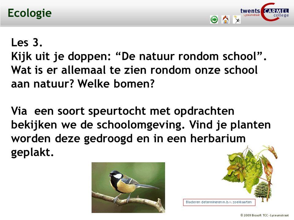 """© 2009 Biosoft TCC - Lyceumstraat Ecologie Les 3. Kijk uit je doppen: """"De natuur rondom school"""". Wat is er allemaal te zien rondom onze school aan nat"""