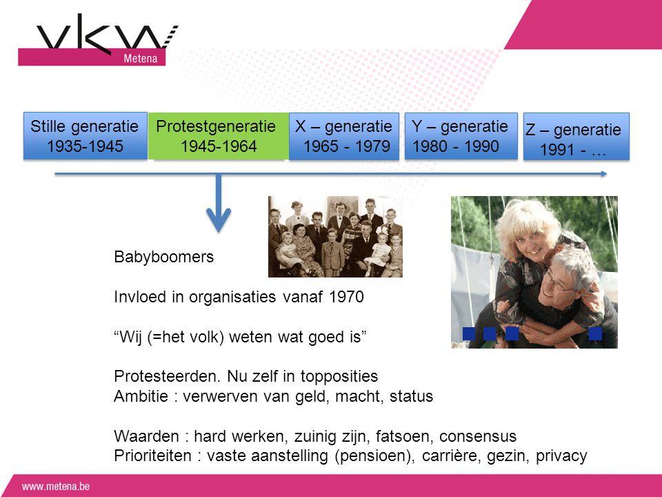 Stille generatie 1935-1945 Protestgeneratie 1945-1964 X – generatie 1965 - 1979 Y – generatie 1980 - 1990 Z – generatie 1991 - … Babyboomers Invloed i