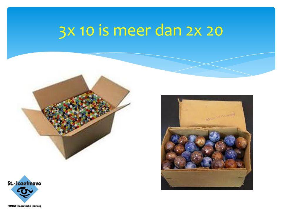 3x 10 is meer dan 2x 20
