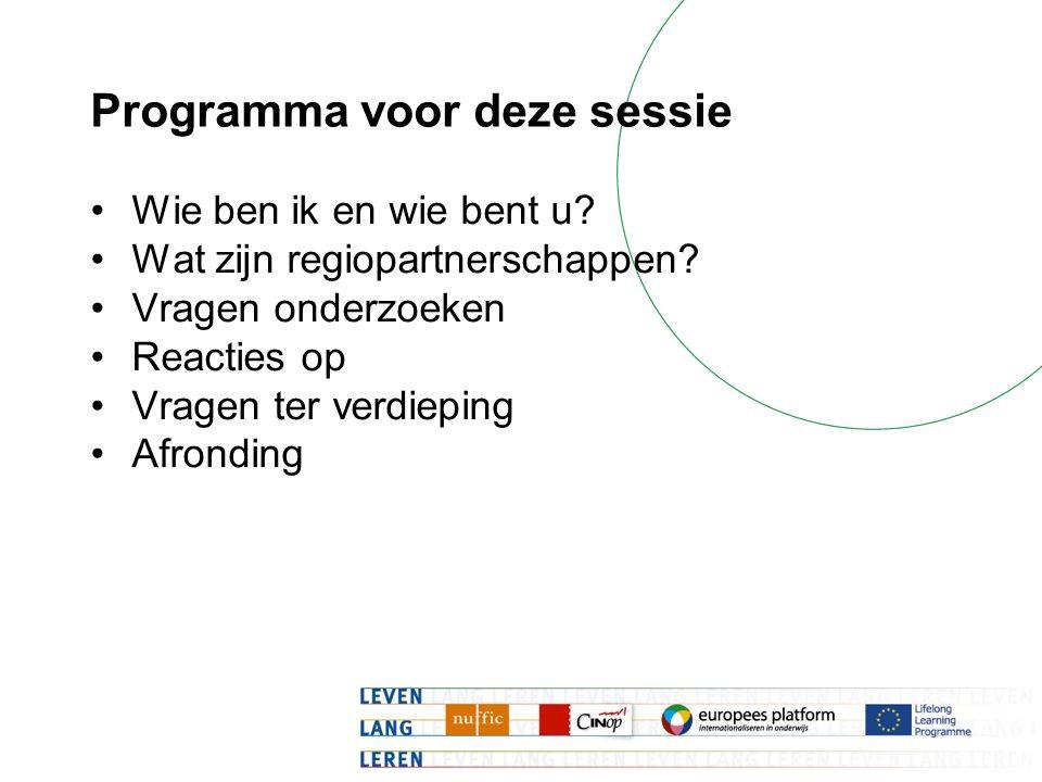 Programma voor deze sessie Wie ben ik en wie bent u? Wat zijn regiopartnerschappen? Vragen onderzoeken Reacties op Vragen ter verdieping Afronding