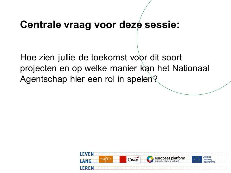 Centrale vraag voor deze sessie: Hoe zien jullie de toekomst voor dit soort projecten en op welke manier kan het Nationaal Agentschap hier een rol in spelen?