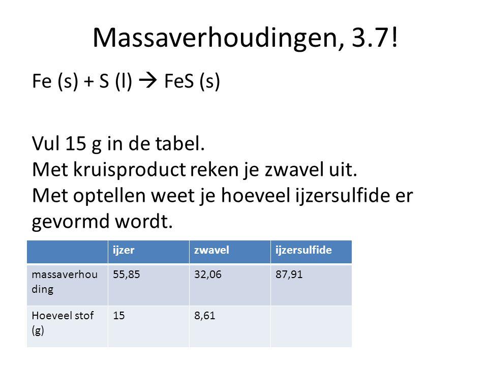 Massaverhoudingen, 3.7! Fe (s) + S (l)  FeS (s) Vul 15 g in de tabel. Met kruisproduct reken je zwavel uit. Met optellen weet je hoeveel ijzersulfide