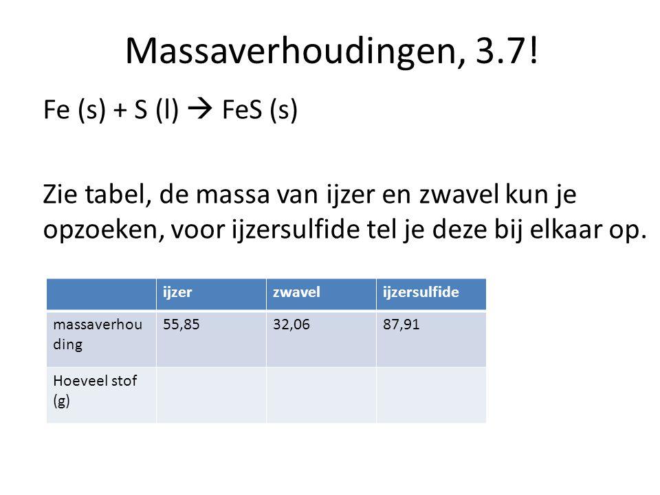 Massaverhoudingen, 3.7! Fe (s) + S (l)  FeS (s) Zie tabel, de massa van ijzer en zwavel kun je opzoeken, voor ijzersulfide tel je deze bij elkaar op.