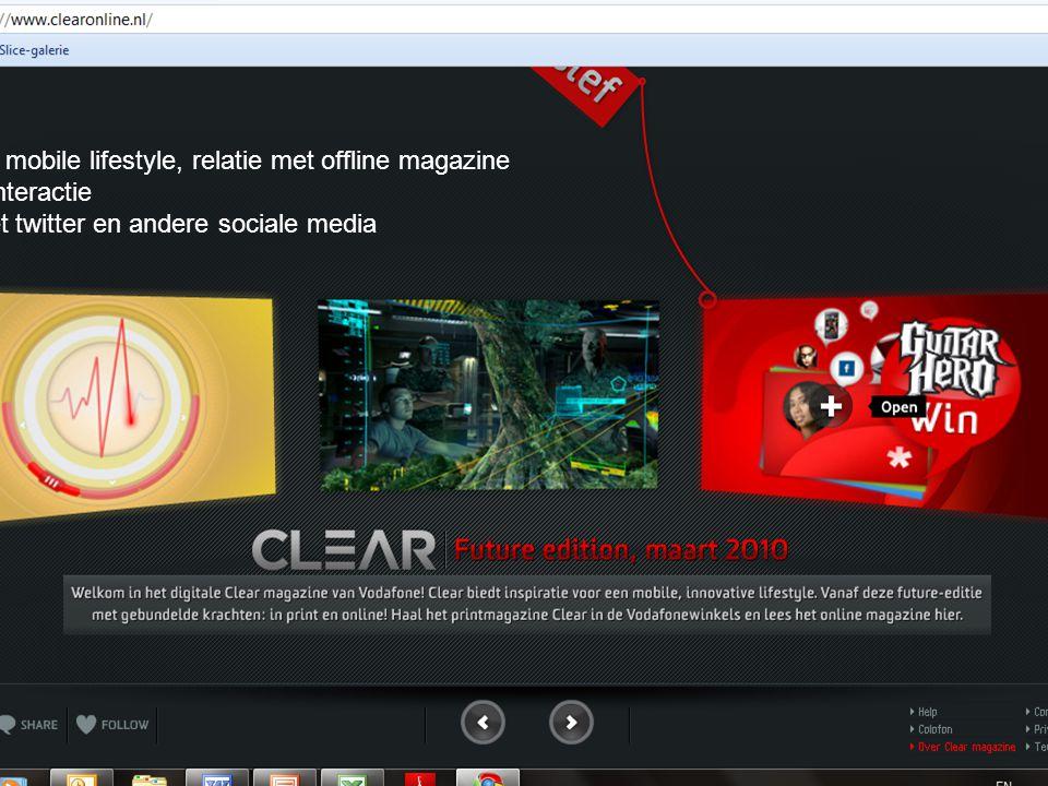 Vodafine mobile lifestyle, relatie met offline magazine Directe interactie Links met twitter en andere sociale media