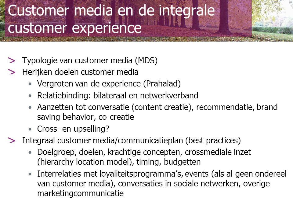 Customer media en de integrale customer experience Elk van de customer media/netwerken tot bloei brengen Relatiemagazine Branded community Brand sponsored events.