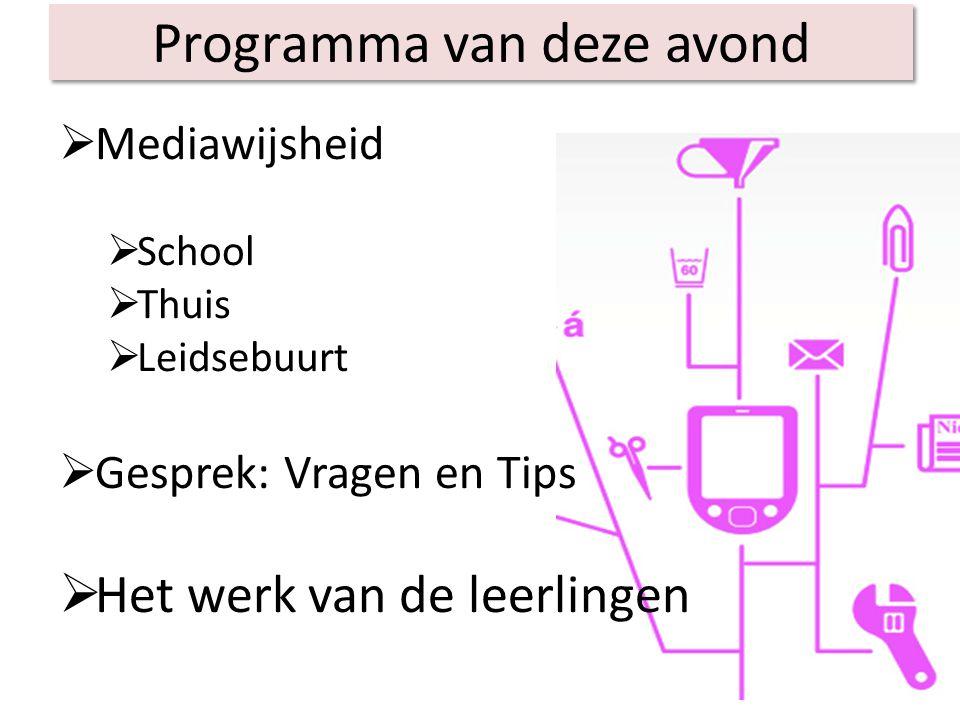 Mediawijsheid  School  Thuis  Leidsebuurt  Gesprek: Vragen en Tips  Het werk van de leerlingen Programma van deze avond