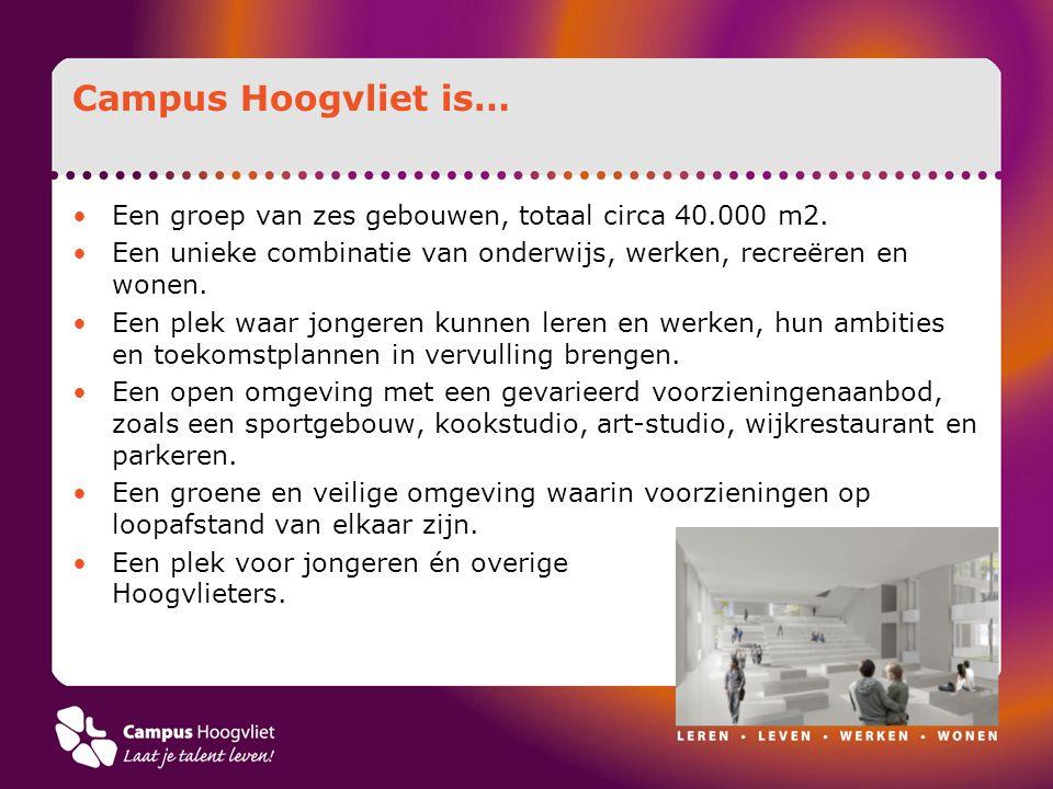 Campus Hoogvliet is… Een groep van zes gebouwen, totaal circa 40.000 m2. Een unieke combinatie van onderwijs, werken, recreëren en wonen. Een plek waa