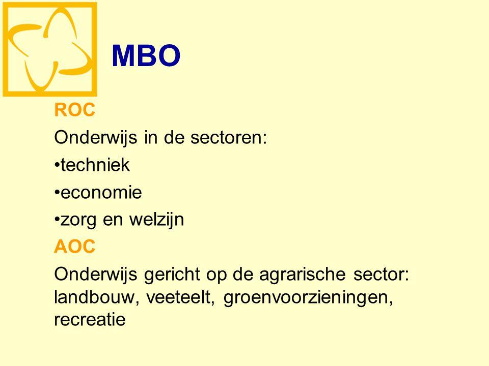 MBO ROC Onderwijs in de sectoren: techniek economie zorg en welzijn AOC Onderwijs gericht op de agrarische sector: landbouw, veeteelt, groenvoorzieningen, recreatie