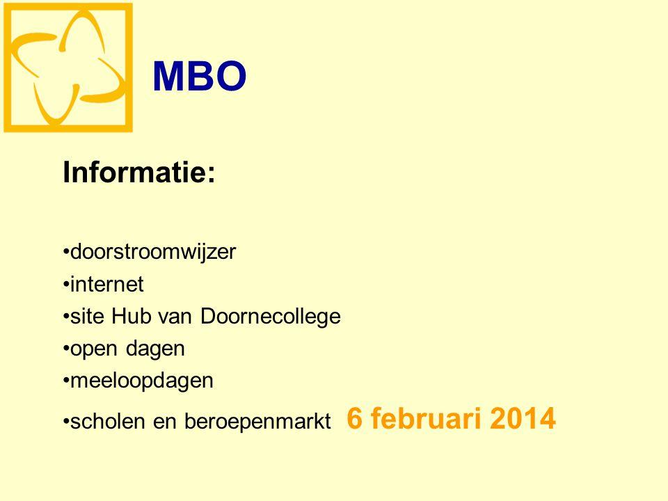MBO Informatie: doorstroomwijzer internet site Hub van Doornecollege open dagen meeloopdagen scholen en beroepenmarkt 6 februari 2014