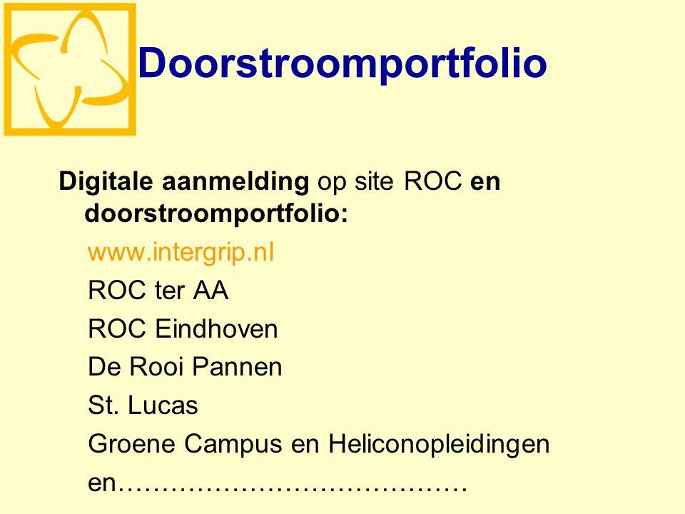 Doorstroomportfolio Digitale aanmelding op site ROC en doorstroomportfolio: www.intergrip.nl ROC ter AA ROC Eindhoven De Rooi Pannen St.