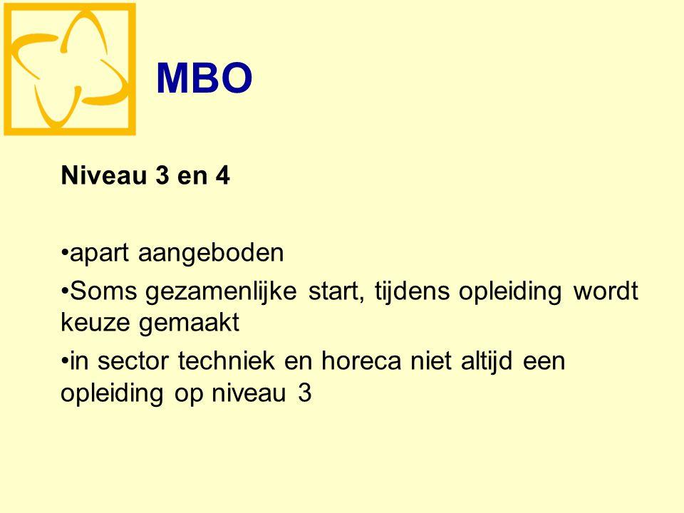 MBO Niveau 3 en 4 apart aangeboden Soms gezamenlijke start, tijdens opleiding wordt keuze gemaakt in sector techniek en horeca niet altijd een opleiding op niveau 3