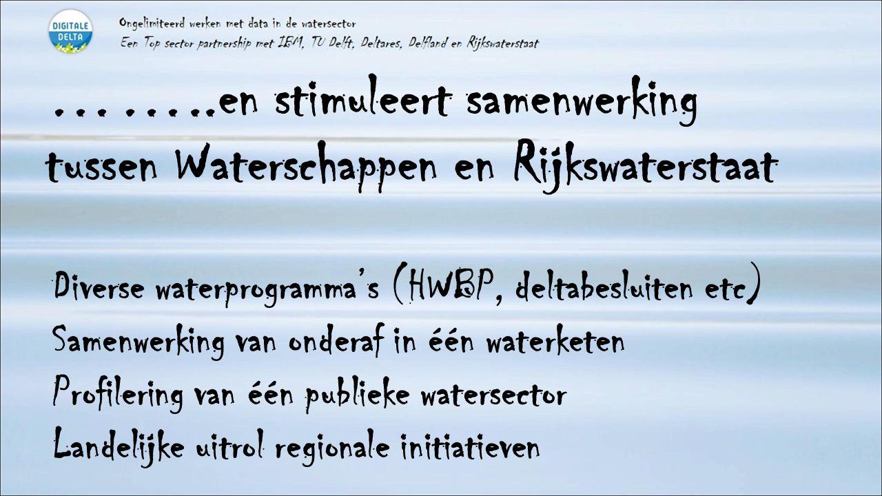 ……..en stimuleert samenwerking tussen Waterschappen en Rijkswaterstaat Diverse waterprogramma's (HWBP, deltabesluiten etc) Samenwerking van onderaf in één waterketen Profilering van één publieke watersector Landelijke uitrol regionale initiatieven
