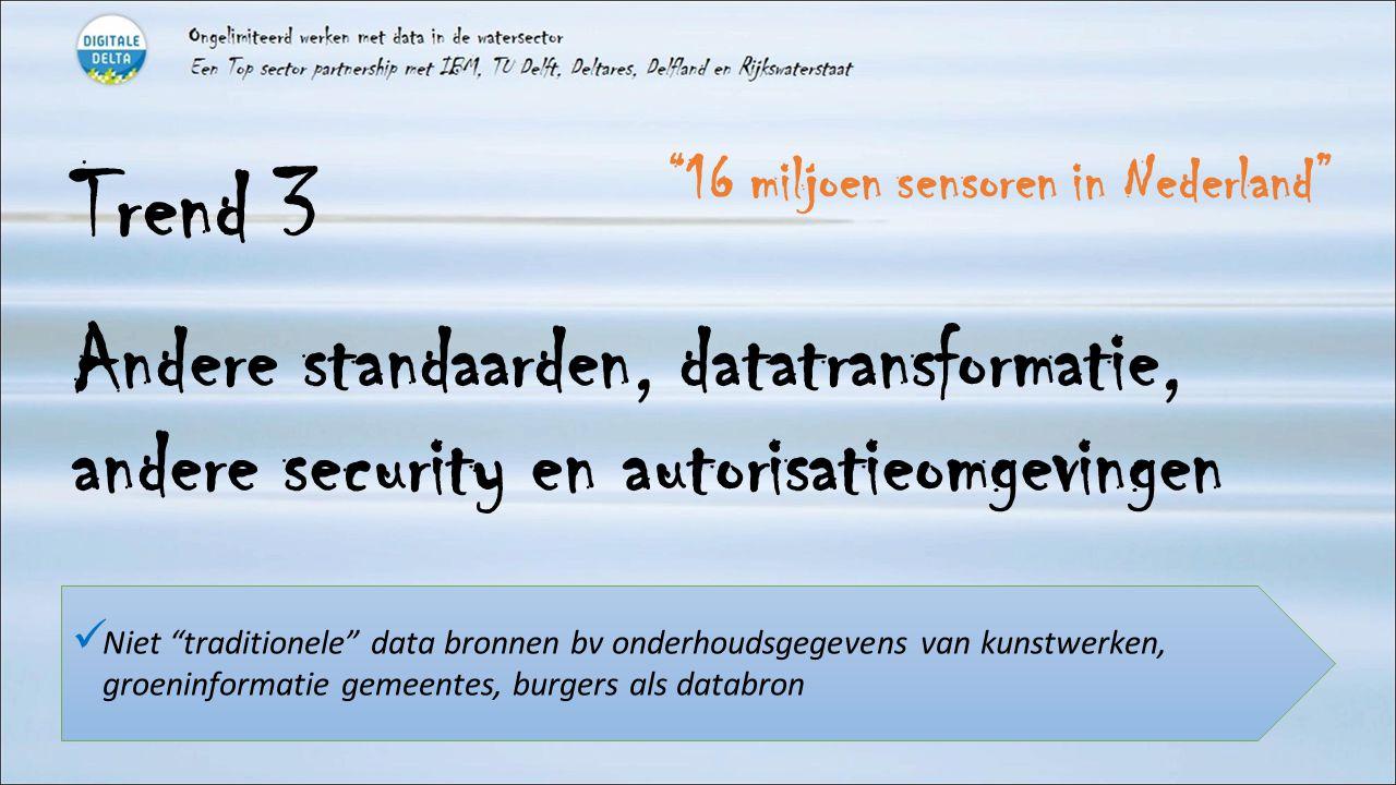 Trend 3 Andere standaarden, datatransformatie, andere security en autorisatieomgevingen Niet traditionele data bronnen bv onderhoudsgegevens van kunstwerken, groeninformatie gemeentes, burgers als databron 16 miljoen sensoren in Nederland
