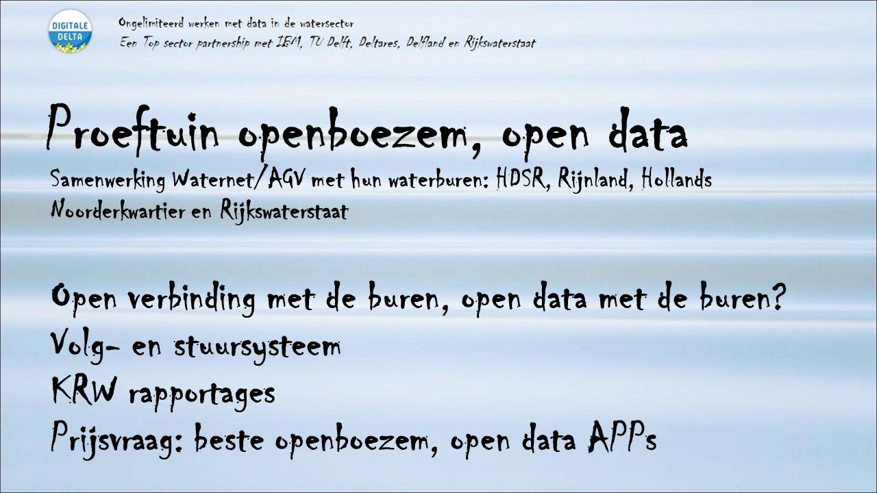 Proeftuin openboezem, open data Samenwerking Waternet/AGV met hun waterburen: HDSR, Rijnland, Hollands Noorderkwartier en Rijkswaterstaat Open verbinding met de buren, open data met de buren.