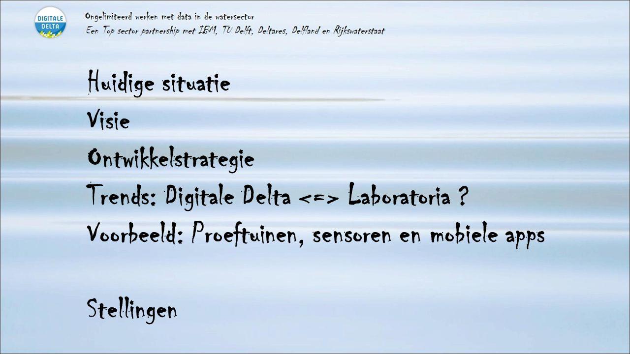 Huidige situatie Visie Ontwikkelstrategie Trends: Digitale Delta Laboratoria ? Voorbeeld: Proeftuinen, sensoren en mobiele apps Stellingen
