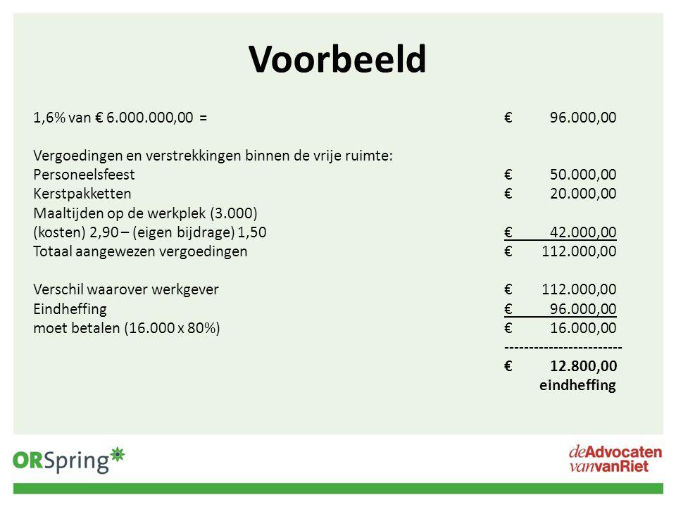 Voorbeeld 1,6% van € 6.000.000,00 =€96.000,00 Vergoedingen en verstrekkingen binnen de vrije ruimte: Personeelsfeest€50.000,00 Kerstpakketten€20.000,0