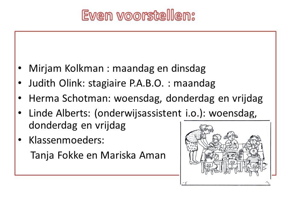 Mirjam Kolkman : maandag en dinsdag Judith Olink: stagiaire P.A.B.O. : maandag Herma Schotman: woensdag, donderdag en vrijdag Linde Alberts: (onderwij