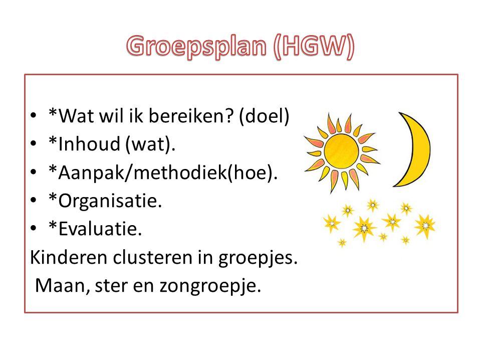 *Wat wil ik bereiken? (doel) *Inhoud (wat). *Aanpak/methodiek(hoe). *Organisatie. *Evaluatie. Kinderen clusteren in groepjes. Maan, ster en zongroepje