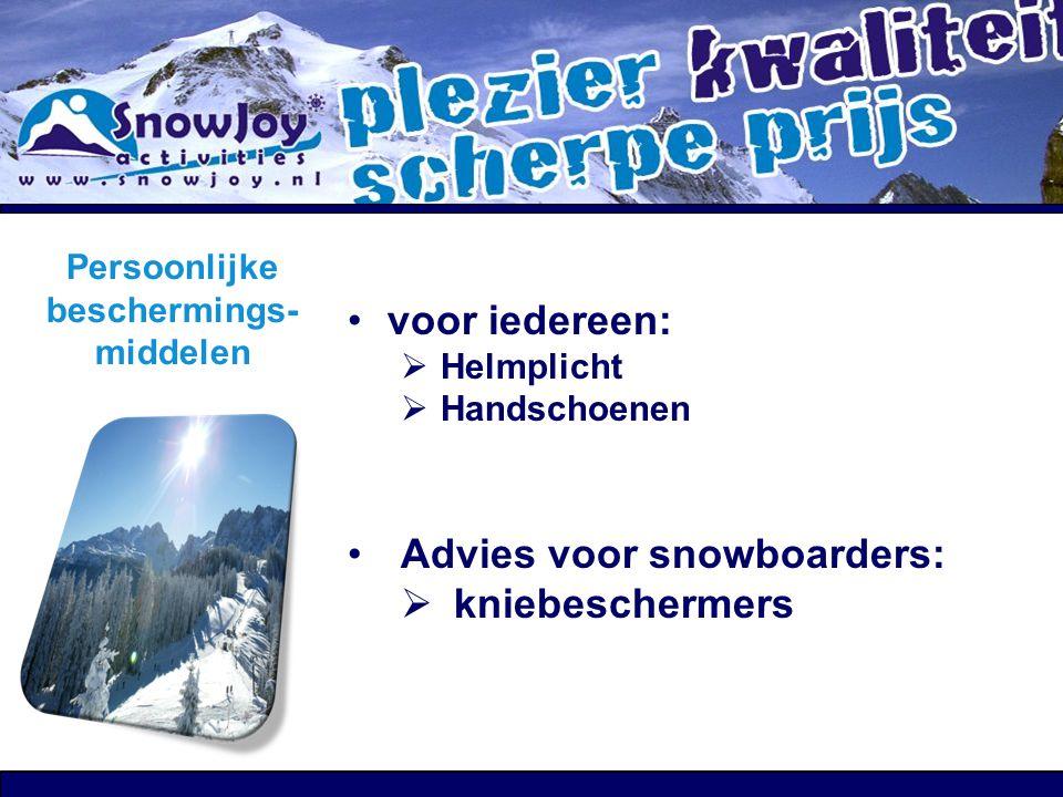 Instructie Iedereen zit & blijft in de instructie- groep De instructeurs delen de groepen in Buiten de lessen mag je vrij skiën / boarden echter… o Al