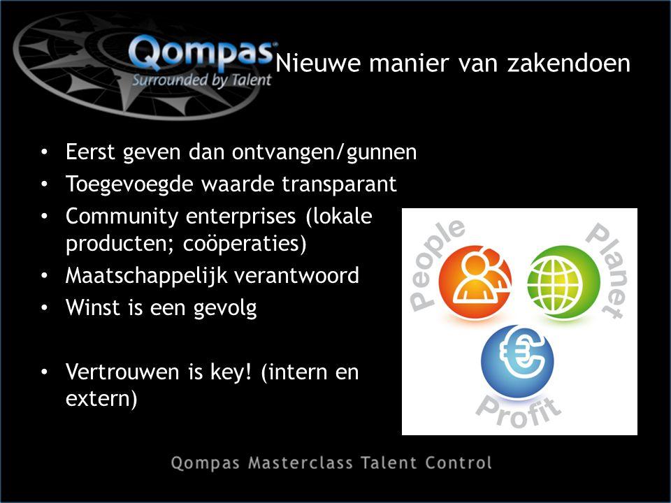 Nieuwe manier van zakendoen Eerst geven dan ontvangen/gunnen Toegevoegde waarde transparant Community enterprises (lokale producten; coöperaties) Maatschappelijk verantwoord Winst is een gevolg Vertrouwen is key.