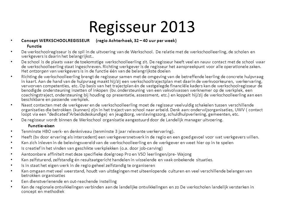 Regisseur 2013 ConceptWERKSCHOOLREGISSEUR (regio Achterhoek, 32 – 40 uur per week) Functie De werkschoolregisseur is de spil in de uitvoering van de Werkschool.