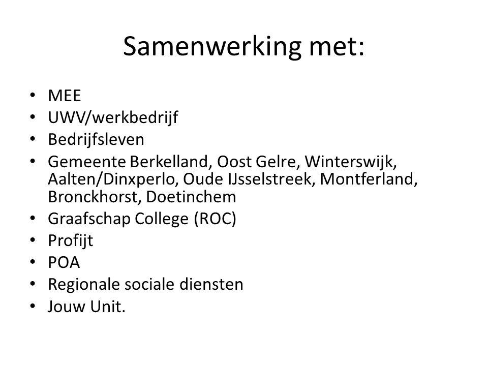 Samenwerking met: MEE UWV/werkbedrijf Bedrijfsleven Gemeente Berkelland, Oost Gelre, Winterswijk, Aalten/Dinxperlo, Oude IJsselstreek, Montferland, Bronckhorst, Doetinchem Graafschap College (ROC) Profijt POA Regionale sociale diensten Jouw Unit.